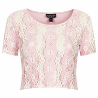 LACE CROP TEE