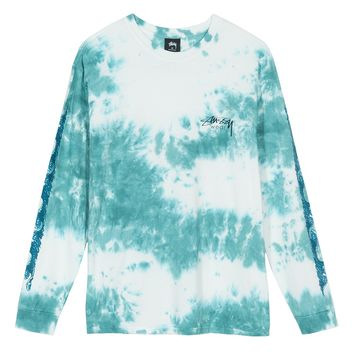Waves Tie-Dye L/S Tee in Teal