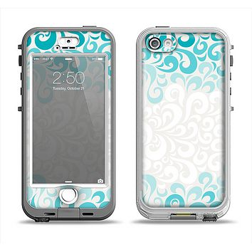 The Teal Blue & White Swirl Pattern Apple iPhone 5-5s LifeProof Nuud Case Skin Set