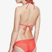 RUCHED STRING BIKINI SWIM BOTTOM - FLURO GUAVA from EXPRESS
