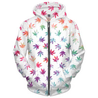 Rainbow marijuana leaf zip up hoodie