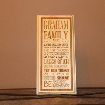 Personalized Family Rules Wood Engraved Wall Plaque Art Sign