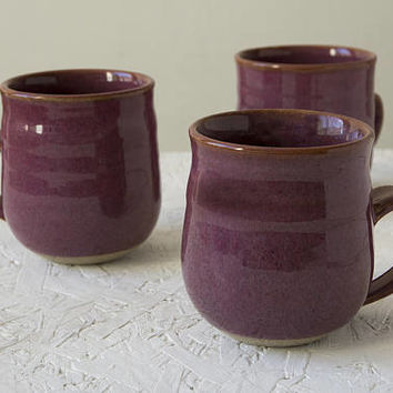 Stoneware Mug, Plum, Hand Thrown Mug, Ceramic Gift, Pottery Coffee Mug, Home Gifts, Hot Chocolate Mug, Breakfast Mug, Rustic Gift