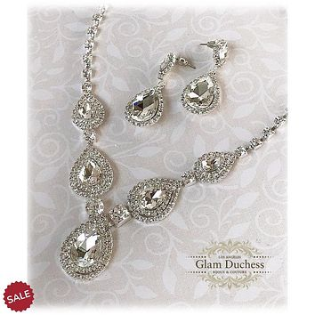 Teardrop Crystal Bridal Wedding Jewelry Set