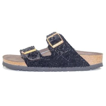 VON3TL Birkenstock for Women: Arizona Suede-Textile Persian Black Soft Footbed Sandal