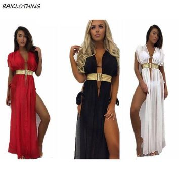 LMF57D BAICLOTHING Swimwear Beach Cover Up chiffon 2017 Bikini Swimsuit Bathing Suit Cover Ups with belt female Robe De Plage