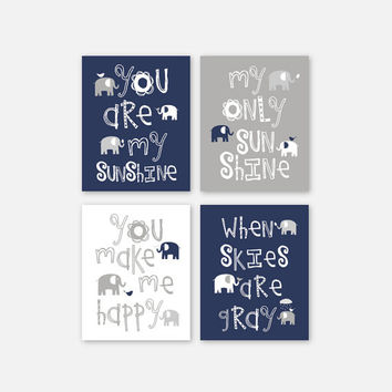 Baby Boy CANVAS Art, Elephant Family Navy, Gray nursery decor Kids Wall Art Set of 4 by YassisPlace