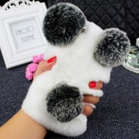 For iPhone 6 7 8 Plus X For Samsung S7 edge S8 S9 Note 5 8 9 Cute Panda ears Hairy Fluffy Rabbit Warm Hairy Fur soft phone Case