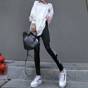 DCCKXT7 Chrome Hearts' Women Casual Fashion Letter Cross Pattern Print Long Sleeve Leggings Set Two-Piece Sportswear