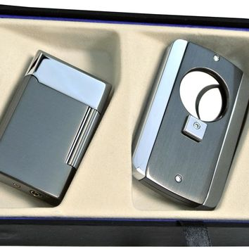 Visol Gunmetal Pyxis Lighter and Axe Cigar Cutter Gift Set