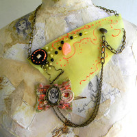 Necklace, statement necklace, textile jewelry, chartreuse, collar, steampunk, weird, women, accessories, burlesque, whimsical jewelry