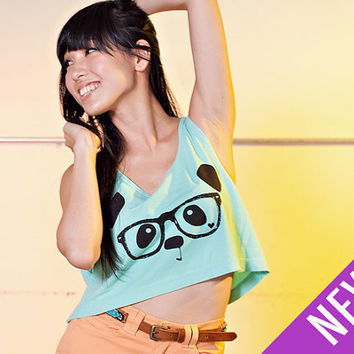 Nerdy Panda Crop Tank Top - Mint  /  Black - One Size
