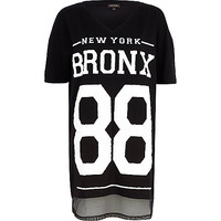 River Island Womens Black Bronx New York mesh hem t-shirt
