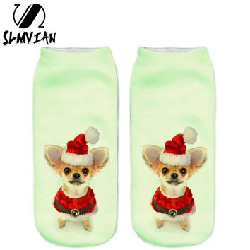 SLMVIAN New 3D Printed Christmas Chihuahua Puppy Women Socks Cute Low Cut Ankle Sock Multiple Colors Fashion Style CN007