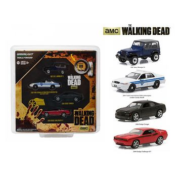 """Hollywood Film Reels Series 4 \The Walking Dead\"""" (2010 Current) TV Series 4 Cars Set 1/64 Diecast Model Cars by Greenlight"""""""