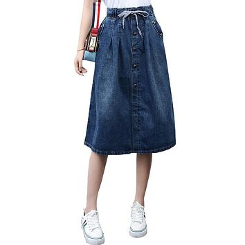 Cotton Denim Women Long Skirt Lace-Up