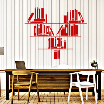 Wall Vinyl Decal Bookshelf Heart Reading Room Bookstore Home Decor Unique Gift z4654