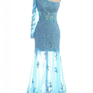 One Shoulder Light Blue Prom Dresses