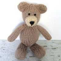"Little Hand Knit Teddy Bear - Ready To Ship - Newborn Photo Prop Stuffed Animal - Baby Plush Doll - Stuffed Child Toy Brown Bear 7 1/2"" Tall"