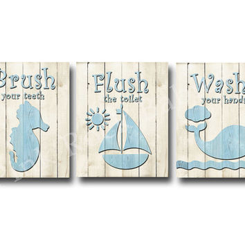 Wood wall decor for baby boy bathroom rules Brush wash flush Kids bathroom art children bathroom decor kids bathroom quotes blue bathroom