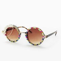 Spangled Embellished Round Frame Sunglasses - Urban Outfitters