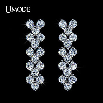 Wedding Crystal Earrings Bridal Jewelry Silver Cubic Zirconia Posts Large Drop Bridal Earrings Wedding Jewelry