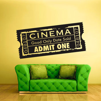 rvz823 Wall Vinyl Sticker Bedroom Decal Ticket Cinema Admit One