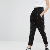Lazy Oaf Mono Happy Sad Tapered High Waist Pants at asos.com