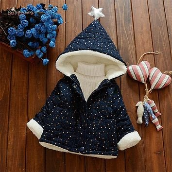 Warm Winter Baby Girls Boys Infants Kids Star Hooded Velvet Printed Star Parkas Thicken Jacket Coat Outwear Roupas Casaco S6005