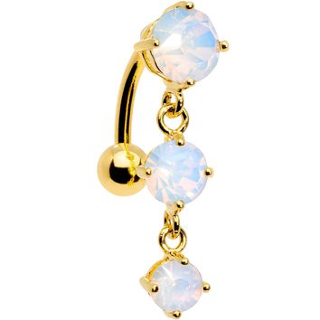 White Faux Opal Gold Plated Trio Tier Top Mount Dangle Belly Ring
