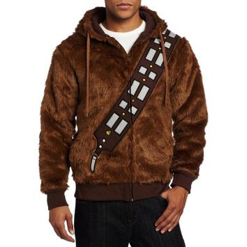 "Star Wars ""I Am Chewie Chewbacca"" Furry Hoodie Jacket Coat Sweatshirt Costume Halloween Carnival Men"