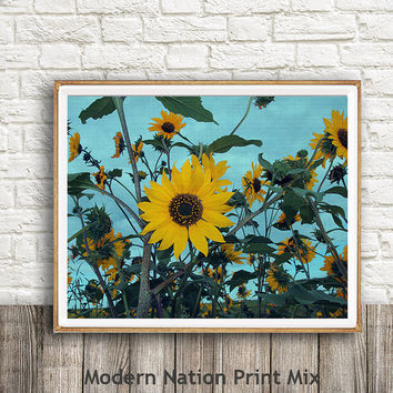 Flower Print, Yellow Flower Art ,botanical print, Yellow botanical,kitchen decor,botanical wall art, sunflower Print,Faux Canvas,Nature Art