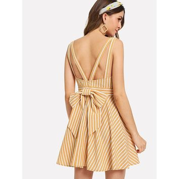 Bow Tie Back Fit & Flare Striped Dress