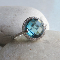 London Blue Engagement Ring- Halo Ring- Blue Topaz Ring- Halo Ring- Gemstone Ring- Bridal Ring- Promise Ring
