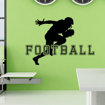 Football Wall Decal Sports Man American Football Player Sport Wall Decals Vinyl Stickers Teens Boys Room College Wall Art Home Decor Q126
