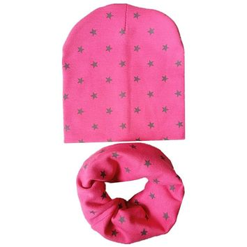 Fashion Baby Hats Set Cartoon Star Girls Boys Beanies Caps Spring Warm Neck Collar Kids Beanies Sets Cotton Children Hat Scarf