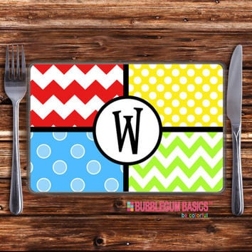 Personalized Placemat for Girls or Boys Laminated Funky Pattern Chevron Polka