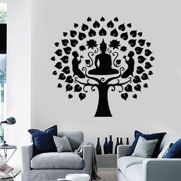Vinyl Wall Decal Buddha Tree Buddhism Lotus Meditation Stickers Unique Gift (ig4184)