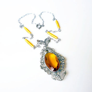 Art Deco Necklace Silver Filigree Amber Topaz Glass Antique Antique Jewelry