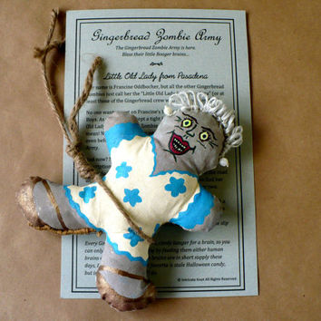 Gingerbread Zombie Cloth Doll - Granny - Hand Painted - Cotton Filled - OOAK