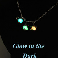 Glowing In The Dark Teapot Necklace. Bright Clay Pendant. Cute and fun Gift Idea For Her. Alice Party. Aqua Green Peach. Jewelry For Kids