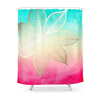 Society6 Gold Flower On Turquoise & Pink Watercolor Shower Curtains