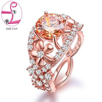 ZHE FAN Champagne Cubic Zirconia Flower Rings Rose Gold Color Plated Cluster-style AAA CZ Ring Luxury Party Jewelry Size 5-10