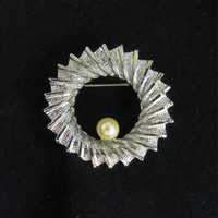 Vintage DuBarry Silver Tone Circle Brooch Pin