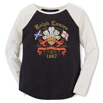 Ralph Lauren Childrenswear Girls 7-16 Graphic Print Baseball Tee