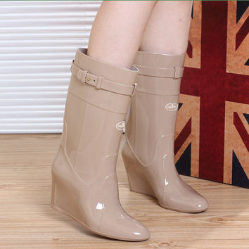 Wedge Platform Women Rain Boots Pointed Toe Water Shoes Waterproof PVC High Heels Rainboots Buckle Black Plus Size 40 Botas