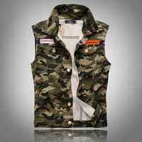 Men's Comfortable Stylish Cool Outwear Camo Denim Vest Jacket
