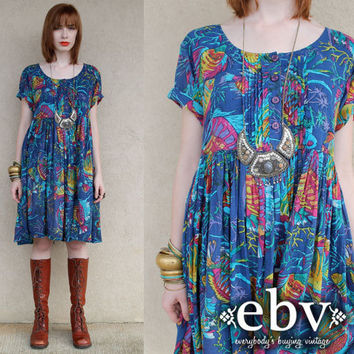 Vintage 90s does 70s India Fish Print Hippie Boho Festival Gauze Cotton Tent Mini Dress S M L