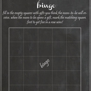 Baby shower Bingo Game chalk baby shower digital file instant download diy gender neutral baby shower