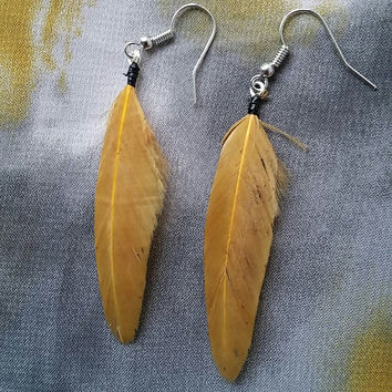 Simple Golden Brown Feather Earrings